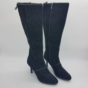 Tahari Gable Knee High Black Suede Dress boots 8M